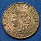 Photo numismatique  Monnaies Monnaies Françaises Troisième République 1 Centime 1 Centime Cérès 1878 A, Gad.88 (SUP+) SPL