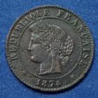 Photo numismatique  Monnaies Monnaies Françaises Troisième République 1 Centime 1 Centime Cérès 1874 A, Gad.88 TTB