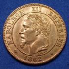 Photo numismatique  Monnaies Monnaies Françaises Second Empire 2 Centimes NAPOLEON III, 2 centimes 1862 A, Gad.104 légères traces sinon (SUP+) SPL