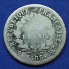 Photo numismatique  Monnaies Monnaies Françaises 1er Empire Demi franc NAPOLEON I, demi franc 1808 W Lille, Gad.398 B à TB