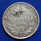 Photo numismatique  Monnaies Monnaies Françaises Second Empire 50 Centimes NAPOLEON III, 50 centimes 1856 A Paris, Gad.414 Rayures à l'avers sinon TTB