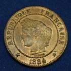 Photo numismatique  Monnaies Monnaies Françaises Troisième République 2 Centimes 2 Centimes Cérès 1884 A Paris, Gad.105 SPL