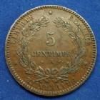 Photo numismatique  Monnaies Monnaies Françaises Troisième République 5 Centimes 5 Centimes Cérès 1871 A, Paris, Gad.157 presque SUPERBE