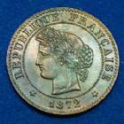 Photo numismatique  Monnaies Monnaies Françaises Troisième République 1 Centime 1 Centime Cérès 1872 A, Paris, Gad.88 (SUP+) SPL