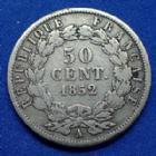 Photo numismatique  Monnaies Monnaies Françaises Deuxième République 50 Centimes NAPOLEON III, Louis Napoléon Bonaparte, 2e République, 50 Centimes 1852 A, Paris, G.412 TB/TB+