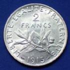 Photo numismatique  Monnaies Monnaies Françaises Troisième République 2 Francs semeuse de Roty 2 Francs semeuse de Roty 1915, Gad.532 presque SUP/SUP