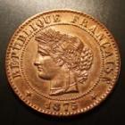 Photo numismatique  Monnaies Monnaies Françaises Troisième République 1 Centime 1 Centime Cérès 1875 A, Paris, Gad.88 légèrement lustrée sinon SUPERBE