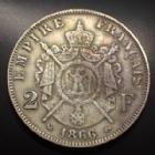 Photo numismatique  Monnaies Monnaies Françaises Second Empire 2 Francs NAPOLEON III, 2 francs 1866 K Bordeaux, Gad.527 TTB+/TTB