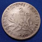 Photo numismatique  Monnaies Monnaies Françaises Troisième République 2 Francs semeuse de Roty 2 Francs semeuse de Roty 1900, Gad.532 TB Rare!