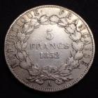 Photo numismatique  Monnaies Monnaies Françaises Second Empire 5 Francs NAPOLEON III, 5 francs 1852 A, 2e République, Gad.726 TB+