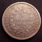 Photo numismatique  Monnaies Monnaies Françaises Troisième République 5 Francs 5 Francs Hercule 1874 A, Paris, Gad.745a TB à TTB
