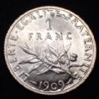 Photo numismatique  Monnaies Monnaies Françaises Troisième République 1 Franc 1 Franc semeuse de Roty 1909, Gad.467 SPL (SUP+)