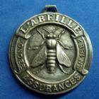 Photo numismatique  Monnaies Médailles Assurance l'Abeille Médaille avec belière Asuurance l'Abeille, médaille avec bélière, Fondée en 1857, 30 mm, argentée, SUPERBE/TTB+