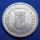 Photo numismatique  Monnaies Monnaies de nécéssité EVREUX 25 centimes nécéssité EVREUX, chambre de commerce, 25 centimes 1921, aluminium 26,8 mm, SUPERBE
