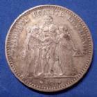 Photo numismatique  Monnaies Monnaies Françaises Troisième République 5 Francs 5 Francs Hercule 1874 A Paris, Gad.745a TB à TTB