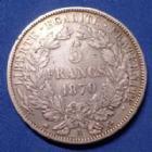 Photo numismatique  Monnaies Monnaies Françaises Défense nationale 5 Francs 5 Francs Cérès 1870 A, Gouvernement de la défense Nationale, Gad.743 P.TTB