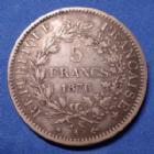 Photo numismatique  Monnaies Monnaies Françaises Troisième République 5 Francs 5 Francs Hercule 1876 A, Gad.745a TTB
