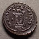 Photo numismatique  Monnaies Empire Romain CONSTANTIN II, CONSTANTINUS II, CONSTANTINO II Follis ou Nummus CONSTANTIN II, CONSTANTINUS II, follis ou nummus Lyon en 321, Beata Tranquillitas, 19 mm, 2,64 grms, RIC.148 R5 !! TTB/TB+ rare!