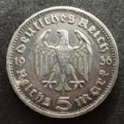 Photo numismatique  Monnaies Allemagne après 1871 Allemagne, Deutschland, Germany, 3e Reich, Dritte Reich 5 Mark Hindenburg, Funf Mark 5 Mark Hindenburg 1936 D, 3e Reich, dritte Reich, Jag.360 TTB+