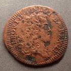 Photo numismatique  Monnaies Monnaies/médailles de Lorraine Léopold Ier Liard de Lorraine Lorraine, Lothringen, Léopold Ier, Liard de Lorraine 1708, 2,54 grms, Flon 48 p.879 TB+