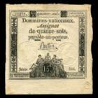 Photo numismatique  Billets Billets Français Assignats Assignat de quinze sols, 15 sols Assignat de quinze sols, 15 sols, Domaines Nationaux 1792, série 566, signature BUTTIN, TTB+