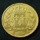 Photo numismatique  Monnaies Monnaies Française en or Charles X 40 Francs or CHARLES X, 40 Francs or 1830 A, Paris, or 900°/°°° 12,85 grms, Gad.1105 rayures d'ajustage, TTB