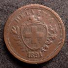 Photo numismatique  Monnaies Monnaies étrangères SUISSE, SCHWEIZ, SWITZERLAND Rappen Suisse, Schweiz, Switzerland, 1 rappen 1891 B, HMZ.1215 TTB+