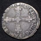 Photo numismatique  Monnaies Monnaies Royales Henri III Huitième d'Ecu HENRI III, Huitième d'Ecu frappé au marteau, 1585 T Nantes, point 17e à l'avers, point 5e au revers , DY.1134, 4,70 grms, TB à TTB