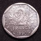 Photo numismatique  Monnaies Monnaies Françaises Cinquième république 2 Francs 2 francs semeuse 1990, gad.547 SUPERBE+