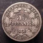 Photo numismatique  Monnaies Allemagne après 1871 Allemagne, Deutschland, Kaiserreich, Empire 50 Pfennig Kaiserreich, 50 pfennig 1877 C, Jaeg.8 TTB