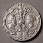 Photo numismatique  Monnaies Médailles Louis Philippe, Victoria, visite Médaille de visite Grande Bretagne, Great Britain, médaille de visite, Louis Philippe, Victoria Oct.1844, medaille en métal blanc de 38 mm, TTB+