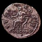 Photo numismatique  Monnaies Empire Romain AELIUS, AELIO Denier, denar, denario, denarius AELIUS, denarius Rome en 137, TR POT COS II CONCORD, Concordia ssise à gauche, 17 mm, 3,30 g, RIC.436 TTB+ Rare!