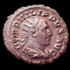 Photo numismatique  Monnaies Empire Romain PHILIPPE I, PHILIPPUS I, PHILIPPUS I ARABS, PHILIPPO I Antoninien, antoninianus, antoniniane PHILIPPUS I Arabs, PHILIPPE I l'arabe, antoninian Rome en 248, COS III inscrit sur un cippe, 23mm, 3,72 grms, RIC.24c SUPERBE
