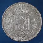 Photo numismatique  Monnaies Monnaies étrangères Belgique, Belgie, Belgien 5 Francs Belgique, Belgien, Leopold II, 5 francs 1873, KM.24 TTB/TTB+