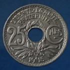 Photo numismatique  Monnaies Monnaies Françaises Troisième République 25 centimes Lindauer 25 Centimes Lindauer 1915, CMES souligné, Gad.379 SUP
