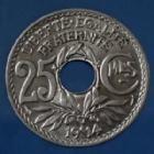 Photo numismatique  Monnaies Monnaies Françaises Troisième République 25 centimes Lindauer 25 Centimes Lindauer 1914, CMES souligné, Gad.379 petites tâches à nettoyer sinon SUP+