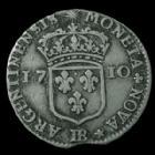 Photo numismatique  Monnaies Monnaies Royales Louis XIV 11 sols de Strasbourg LOUIS XIV, 11 sols de Strasbourg 1710 BB, 21mm, 2,99 grms, Gad.135 TB à TTB