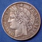 Photo numismatique  Monnaies Monnaies Françaises Troisième République 1 Franc 1 Franc Cérès 1872 petit A, Paris, Gad.465a TB à TTB