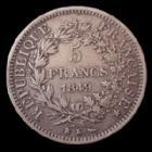 Photo numismatique  Monnaies Monnaies Françaises Deuxième République 5 Francs 5 Francs Hercule 1849 K Bordeaux, Gad.683 TB à TTB