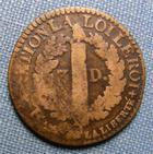 Photo numismatique  Monnaies Monnaies de la Révolution Constitution 3 Deniers CONSTITUTION, LOUIS XVI 1792 I, 3 deniers François, Gadoury 5 B à TB