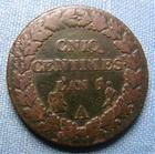 Photo numismatique  Monnaies Monnaies de la Révolution Directoire Variété CNIQ DIRECTOIRE, AN 5 A, 5 centimes variété CNIQ, Gadoury 126 TB+ Rare!