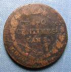 Photo numismatique  Monnaies Monnaies de la Révolution Directoire et Consulat  DIRECTOIRE, cinq centimes surfrappé, AN 8 BB, Gadoury 126 a B à TB