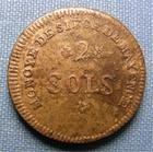 Photo numismatique  Monnaies Monnaies de sièges Mayence République Française 2 Sols SIEGE DE MAYENCE, 2 Sols 1793, l'An 2, trois rameaux, Gadoury 66 TTB+