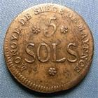 Photo numismatique  Monnaies Monnaies de sièges Mayence République Française 5 Sols SIEGE DE MAYENCE, 1793, 5 Sols, Gadoury 67 TTB+