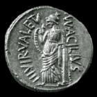 Photo numismatique  Monnaies République Romaine Acilia 49 avant Jc Denier, denar, denario, denarius M.ACILIUS GLABRIO, Denier Rome en 49 avant JC, Tête de Salus, Valetudo à gauche, 18mm, 4,10 grms, SYD 922  SUP/FDC
