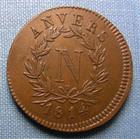 Photo numismatique  Monnaies Monnaies de sièges 1er Empire 5 Centimes SIEGE D'ANVERS, 5 Centimes 1814 V, V au dessus du ruban, Gadoury 129b TTB+