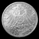 Photo numismatique  Monnaies Allemagne après 1871 Allemagne, Deutschland, Preussen, Prusse 3 Mark, Drei mark PREUSSEN, PRUSSE, Kaiserreich, Wilhelm II, 3 mark 1913, J.112 (leite hairlines) légères traces sinon SUP
