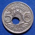 Photo numismatique  Monnaies Monnaies Françaises Monnaies Fautées 5 centimes lindauer fautée trou décalé 5 centimes Lindauer 1923, Fautée, trou décalé, TTB à SUPERBE