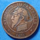 Photo numismatique  Monnaies Monnaies Françaises Monnaie Satirique, monnaie satyrique Module du 10 centimes Monnaie satirique, Napoleon III, module du 10 centimes, 1870, belle gravure d'un casque à pointe, gravure SUP