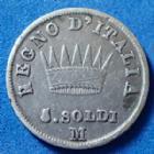 Photo numismatique  Monnaies Monnaies Françaises 1er Empire 5 Soldi Milan, Napoléon Ie, 5 soldi 1809 M, M.279 TB